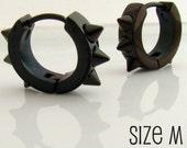Mens Spike Earrings Black Huggie Hoop - Ear Cartilage Piercing - Guy Cyber Corp Gothic Punk Rocker - Stainless Steel - Medium no.158