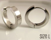 Silver Hoop Earrings for men - Masculine Male Guys Circle Hip Hop Medieval Industrial Punk Rock - Simple Circle Stainless Steel LARGE no.190