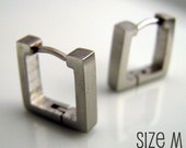 Mens Silver Square Huggie Hoop Earrings - Ear Cartilage Piercing - For Guys Hip Hop Medieval Punk Rock - Simple Steel Medium no.210