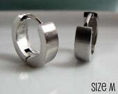 Mens Silver Huggie Hoop Earrings - Ear Cartilage Piercing - For Guys Hip Hop Medieval Punk Rock - Simple Stainless Steel Medium no.150