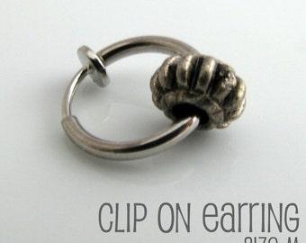 Metal gear clip on earring, mens earrings, clip on hoop earring, non pierced earring, fake earrings, mens hoop earring, single clip,  576