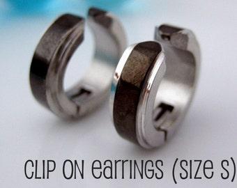 Racing stripe clip on hoop earrings, mens hoop earings, fake earrings, non piercing earring, non pierced earring, black steel hoops, 578C
