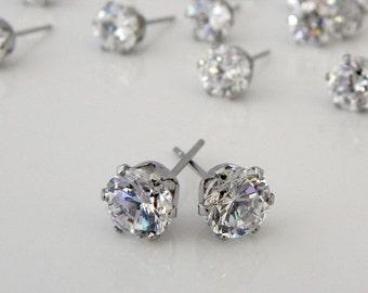 Mens earrings, men's brilliant cut diamond cz stud earrings, men's stud earrings, rhinestone stud earrings, simple stud earrings, 514