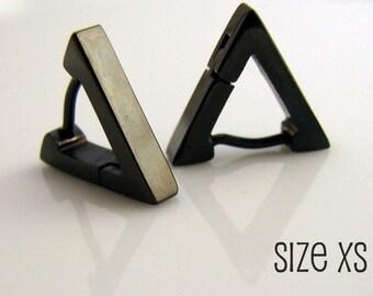 Black Triangle Huggie Hoop Earrings for Men, Ear Cartilage Helix Tragus Daith Rook Snug Piercing, Guys Gothic Punk Rock Steel, 214
