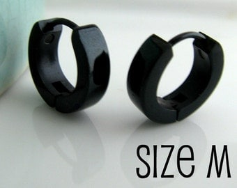 Mens Earrings Black Huggie Hoop - Or Ear Cartilage Piercing - Guys Cyber Corp Gothic Punk Rock - Stainless Steel - Medium no.154A