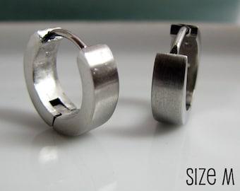 Mens Silver Huggie Hoop Earrings - Ear Cartilage Piercing - For Guys Hip Hop Medieval Punk Rock - Simple Stainless Steel Medium no.150
