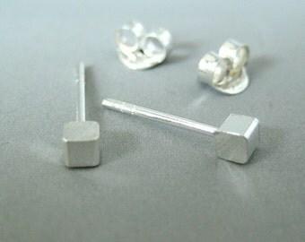 Blizzard cube stud earrings, sterling silver earrings, men's stud earrings, tiny stud earrings, cartilage earring, helix stud earring, 465