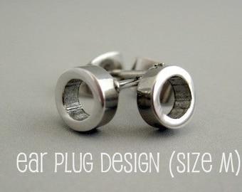 Men's stud earrings, stainless steel halo stud earrings, circle stud earrings, round stud earrings, small steel stud earrings, 413