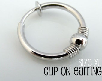 Clip On Earring for Men - Nose Ring - Ear Cartilage or Conch Non Piercing - Single Earring size XL (575A)