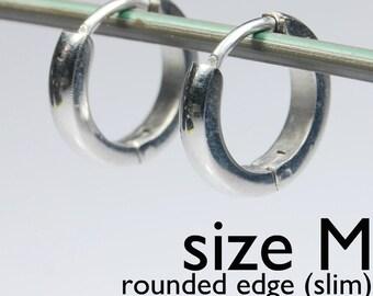 Mens Earrings Silver Huggie Hoop - Ear Cartilage Piercing - For Guys Hip Hop Medieval Punk Rock - Stainless Steel - Slim CURVED no.134A