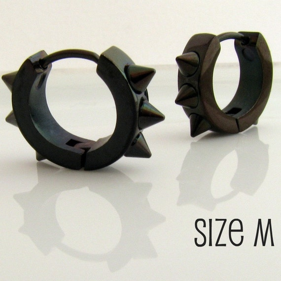 Mens Spike Earrings Black Huggie Hoop Ear Cartilage Piercing