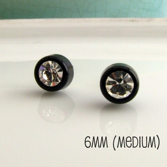 Mens Diamond Stud Earrings CZ- Black Hip Hop Bling Biker Jewelry for men - Black 6mm (no.434)