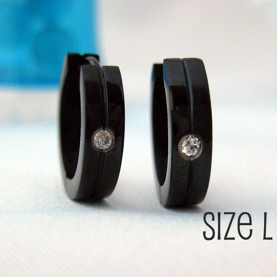 Jet Black Diamond CZ Hoop Earrings for Men Simple Guys Cyber