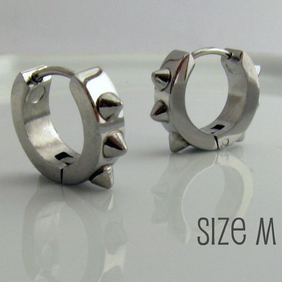 Mens Spike Earrings Silver Huggie Hoop - Spiked Huggie Earring - For Guy Cyber Corp Gothic Punk Rocker - Stainless Steel - Medium no.157