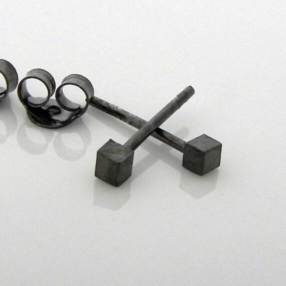 Men's stud earrings - men's earrings studs - black gold stud earrings - tiny cube studs - cartilage earring - helix earring - 465A
