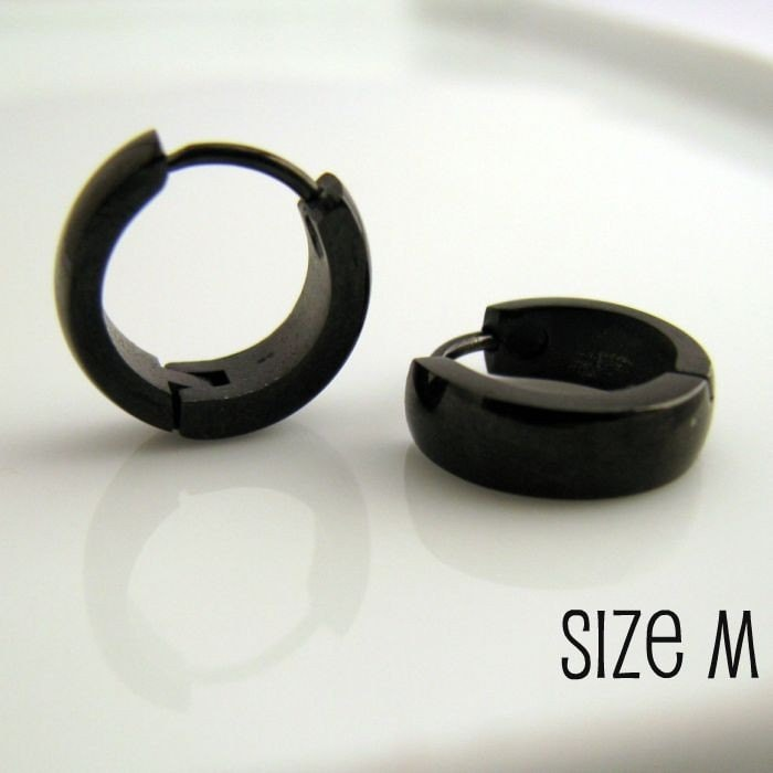 Mens Earrings Black Hoop Huggie Earrings for Men Stainless
