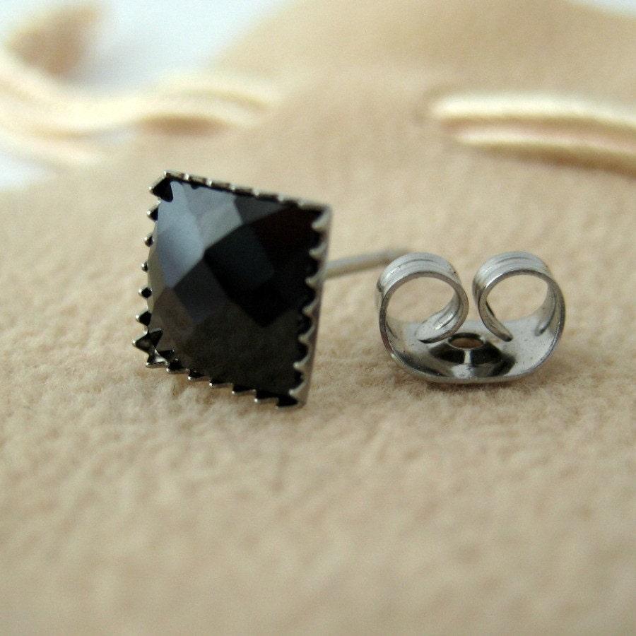 black square diamond earrings cz hip hop bling mens black. Black Bedroom Furniture Sets. Home Design Ideas