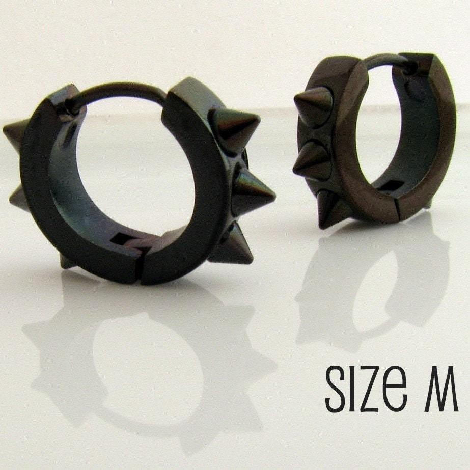 Mens spike earrings black huggie hoop ear cartilage piercing for Men s jewelry earrings
