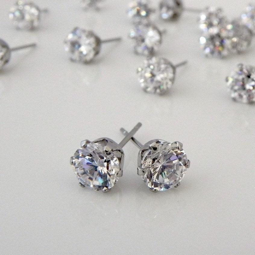 mens earrings men 39 s brilliant cut diamond cz stud. Black Bedroom Furniture Sets. Home Design Ideas