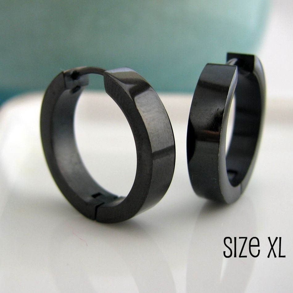 Extra large black hoop earrings for men black stainless steel