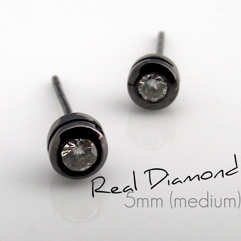 Real Black Diamond Earrings For Men
