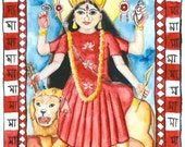 Goddess Durga Blank Greeting Card