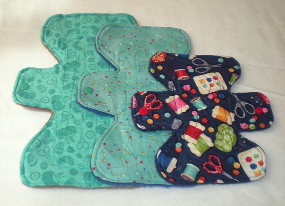 Sewing Accessories Collection -  Multiple Absorbency - Mixed Sizes - 3 - Cloth Pad Set