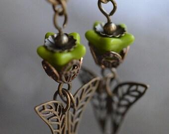 Fresh Flowers Earrings, Downton Abbey inspired with warm Vintaj antique brass, Czech glass, earrings, fashion accessories, nature