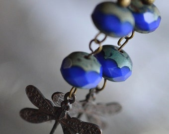 Dragonfly Dangle Earrings in Cobalt Blue, Faceted Czech Picasso Glass & Warm Antique Brass, great fashion gift, jewelry, accessories