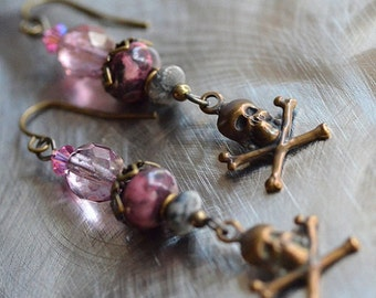 Skull and Crossbones Earrings in pink, Vintaj, rose fire polished faceted czech glass, warm antique brass, accessories, great gift, fun