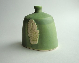 Fat Squatty Bottle in Fern-Lichen Green, Vessel out of Porcelain Clay