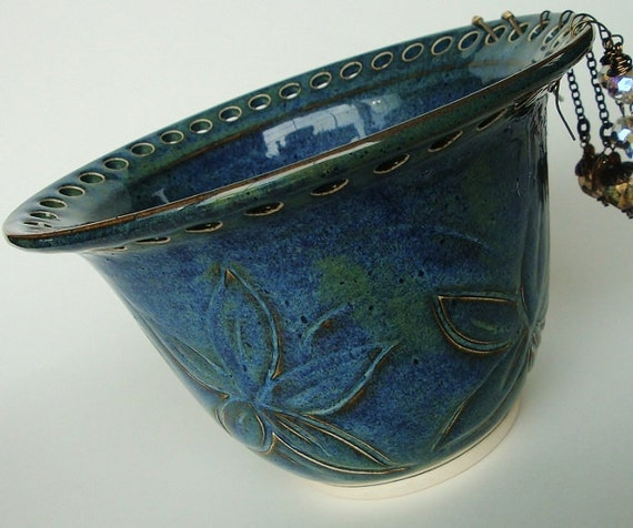 Mother's Day Sale - Jewelry bowl, Earring bowl, ceramic jewelry holder. Handcarved flowers in deep ocean blue, denim blue glaze
