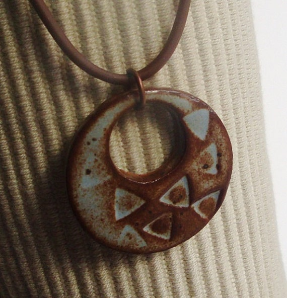 Soft Azure Blue and Sepia Ceramic Pendant handmade from stoneware clay, goes great with any outfit