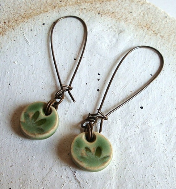 Willow Green Daisy Ceramic Dangle Earrings, pretty, feminine, handmade ceramic beads, coins, porcelain clay