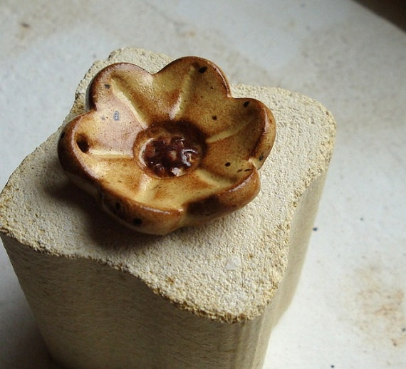 Saffron Yellow ceramic pendant fLoWER, handcarved from stoneware clay