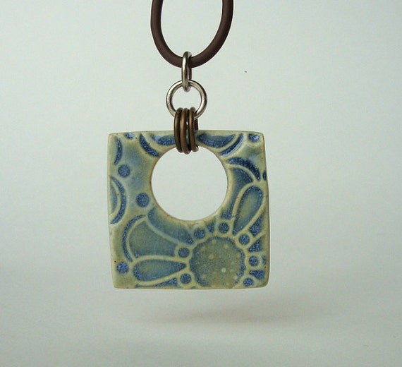 Pure Porcelain Abstract Flower Ceramic Pendant In Opal Blue