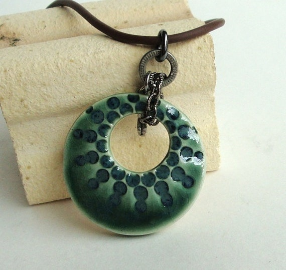 Modern Dots Pure Porcelain Ceramic Pendant, clay pendant in peacock and sage green