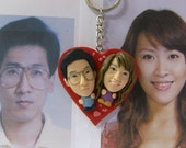 Heart Love Keyring Pendant Bobblehead Custom from Your Photos Personalized Clay Caricature Valentine Figure