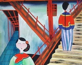 Erode - Chinese Peasant Folk Art Painting 10x10 inches Women