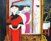 Naked Mirrors - Erotic Village Folk Art Painting 10x10 inches