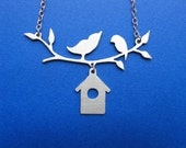2 Birds with House Necklace