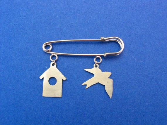 Blue Bird and House Pin