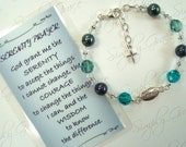 Serenity bracelet .. crystals and pearls in blues and greens with Serenity link