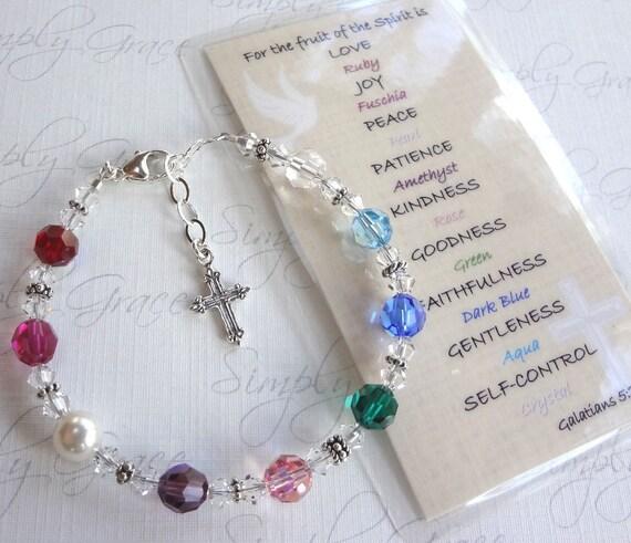 Fruit of the Spirit .. smaller sized Swarovski Crystal scripture bracelet
