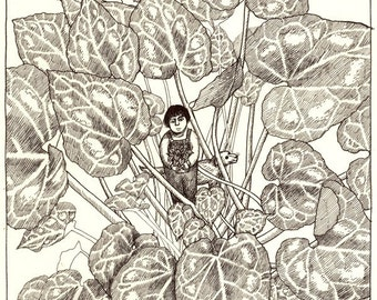 Original drawing - Leaves of cyclamen
