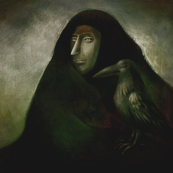 Limited Edition Print A4 size - Night mountain / Crow 8/50