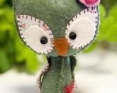Baby Spring Owl wool mini plush Fern