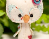 Baby Spring Owl wool mini plush Honey