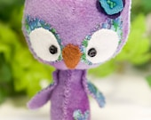 Baby Spring Owl wool mini plush Violet