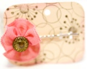 Ribbon Flower Barette Bobby Pin with Vintage Button